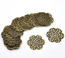 100 Newest Bronze Tone Flower Wraps Connectors 29x29mm
