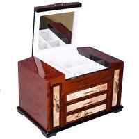 Wooden Jewelry Case 4 Layers W/3 Drawer Storage Box Organizer Display Christmas