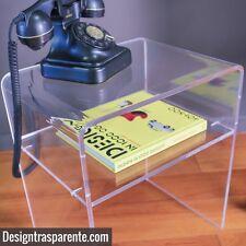 Tavolino da salotto moderno / comodino in plexiglass con ripiano 50x30x45 -