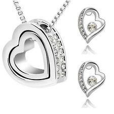 Schmuckset 3tlg Kette + Anhänger + Ohrringe mit Swarovski® Kristall Herz Silber