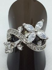 Sterling Silver Flower Design Cubic Zirconia Cocktail Ring
