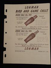 Vntg Original 1951 LOHMAN Bird Game Duck Crow Squirrel Calls Dealer Sales Sheet