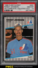 1989 Fleer Glossy Randy Johnson ROOKIE RC, AD BLACKED OUT #381 PSA 10 GEM