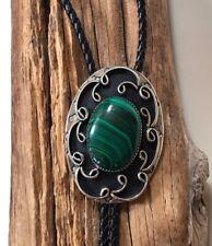 Vintage Malachite Southwestern Bolo Tie Green