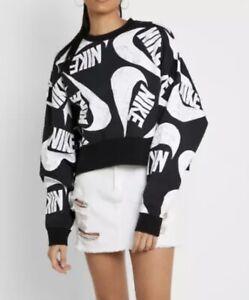 Nike Sweatshirt Womens Plus  Authentic Loose Fit Icon Clash Crew Neck Black Sz S