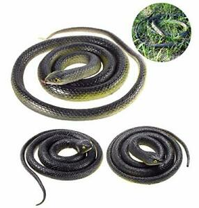 3 Pieces Large Realistic Rubber Snakes, Halloween Scary Toy Fake Mamba Black