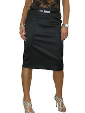 Ladies Stretch Matte Satin Skirt Diamante Belt Black Smart Occasion Party 8-22