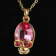 Pink Skull Pendant Charm CZ Crystals 19 to 21 inch adjustable gold filled chain