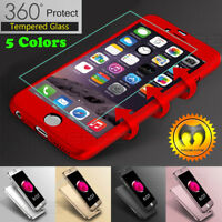 360° Hard Full Case Cover For iphone XR X XS 8 +Tempered Glass Screen Protector