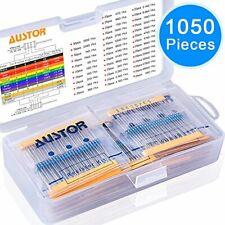 SIQUK 1050 Pieces Resistor Kit 38 Values 1% Resistors 0 Ohm-1M Ohm 1/4W Metal