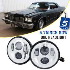 """Pair 5-3/4"""" 5.75"""" Chrome LED Headlight DOT Halo DRL for Oldsmobile Car 1958-1975"""