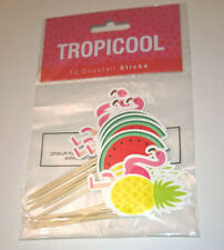 12 TROPICAL CANAPE STICKS Flamingo Pineapple Watermelon WOOD PICKS Cake Cocktail