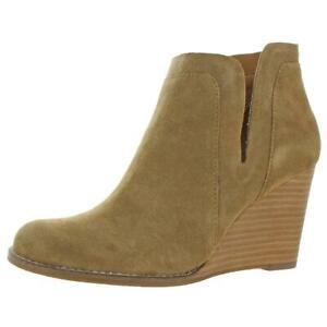 Lucky Brand Womens Yabba Tan Suede Wedge Boots Shoes 10 Medium (B,M) BHFO 5052