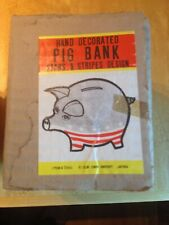Vtg NOS Piggy Bank Pig Figure American Flag Patriotic Our Own Import Japan Coin