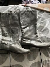 Aldo Grey Leather Knee High Boots Size 8 (42)