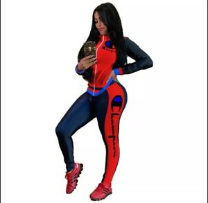 2021 Fashion Women's Zipper Long Sleeves Pants Set Outfit US Seller New Red