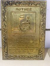 """Vintage Brass Hanging Wall Plaque """"MOTHER"""" 1950's Mothers Day Retro Gift"""