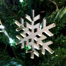 Silver Mirror Crystal Snowflake Christmas Tree Decorations & Green Ribbon x 10
