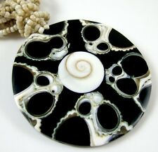 CONE SHELL AND SHIVA EYE BEADS necklace ; CA040