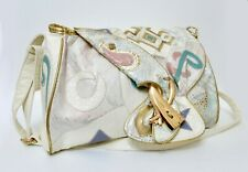 Vintage Alentino Korean Nas Bag Croc Emboss White Abstract Pink Gold Shoulder