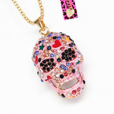 Colorful Enamel Crystal Sugar Skull Pendant Chain Betsey Johnson Necklace Gift