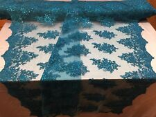 Lace Fabric - Embroidered Sequin Mesh Flower  For Wedding Dress By The Yard Teal