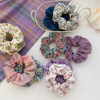 Girl Ponytail Holder Floral Plaid Hair Rings Elastic Hair Scrunchies Rubber Band