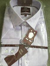 M&s Luxus Slim Fit Baumwollhemd in flieder mit klassischem Kragen & Einzel Manschette-Bnwt
