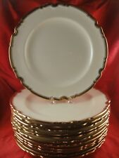 Vintage Antique Copeland Spode England Porcelain 12 Dinner Plates Heavy Gold