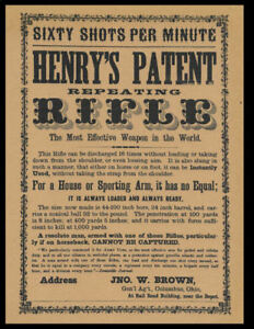 Henry Repeating Rifle Advertisement Poster Reprint On 100 Year Old Paper *P006
