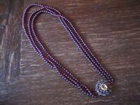 prunkvolles Biedermeier Granat Collier Silber Schmuckschließe Diamantrosen 3rhg