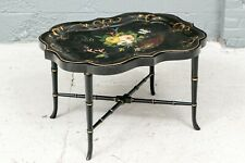 19th Century Polychrome Black Lacquer Tole Tray On Stand Or Cocktail Table