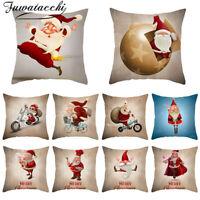 Christmas Pillow Case Santa Cotton Linen Sofa Throw Cushion Cover Home Decor @^