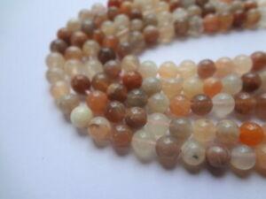 8mm Round Natural Beige Brown Sunstone Gemstone Beads - Half Strand