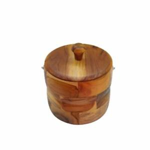 Insulated Wooden Sunrays Protective Ice Cube Bucket Box For Home Wine Beer Shop