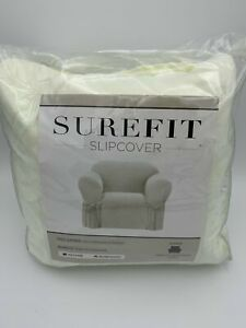 "SUREFIT Chair Slipcover NWT Fits 32""-43"" Chair Farmhouse Basketweave Ivory"