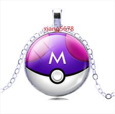 New purple Anime Pokeball Pokemon Glass Cabochon Pendant Silver Chain Necklace