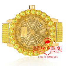 Canary Real Diamonds Mens Stainless Steel Gold Tone Custom Band Watch Solitaire