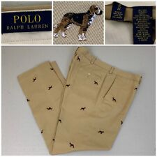 Polo Ralph Lauren Mens Embroidered Chino Pants Hound Dog  Slim Fit Size 38/32