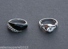 Avon Black & White Pave Valentines Engagement Wedding Ring Silver - Size 8