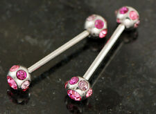 """Pair 316L Surgical Steel 14g 3/4"""" 7 Gem Pink, Purple C.Z. Nipple Rings Barbells"""