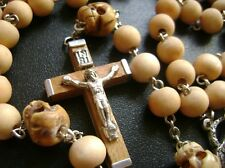 * Bone Skull Father Beads & Sandalwood Rosary & wood Cross catholic necklace