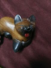 Vintage Wood Folk Art Carving Smiling Laughing Cat Primitive Kitty Anime Art