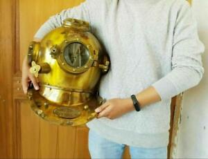 Vintage Divers Helmet Boston 18 Inch Diving Helmet Deep US Navy Mark V Helmet