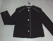 Katies: Size: 12. Stylish Black & Beige Piping, Chic Military Lined, L/S Jacket