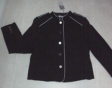 Katies Size 12. Stylish Chic Small White Dot Over Black L/sleeve Zip Jacket