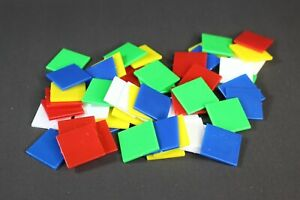 50 x ASSORTED LARGE SQUARE OPAQUE COLOUR PLASTIC COUNTER CHIPS - FREE UK POST