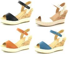 Sandali e scarpe casual blu zeppa per il mare da donna