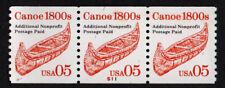 USA, SCOTT # 2454, STRIP OF 3 PNC # S11 SHINY GUM CANOE 1800s NON-PROFIT, MNH