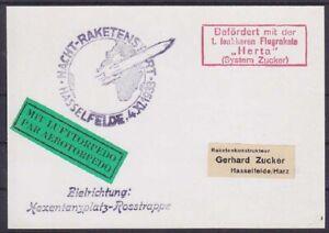 Deutsches Reich Zucker Raketenpost Herta Lufttorpedo Flug Hexenplatz 1933